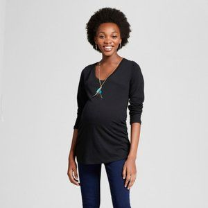 Isabel Maternity by Ingrid & Isabel Tops - Isabel Maternity Black Long Sleeve T-Shirt